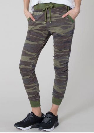 Camouflage Printed Drawstring Pocket Pants