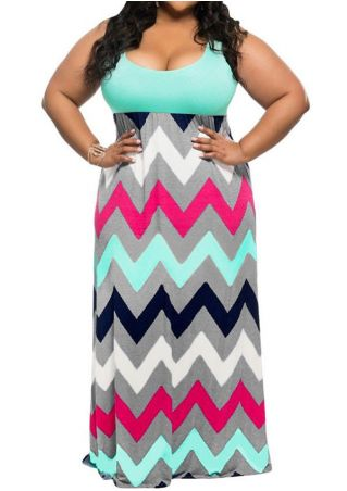 Plus Size Zigzag Printed Sleeveless Maxi Dress