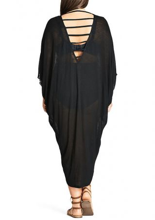 Plus Size Solid Hollow Out Casual Dress
