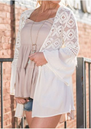 Solid Lace Splicing Cardigan without Necklace