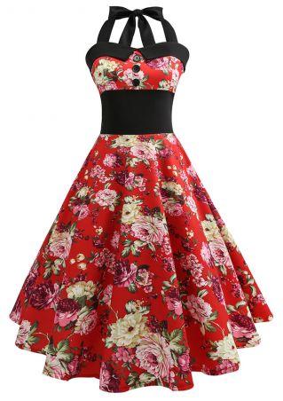 Floral Halter Button Mini Dress