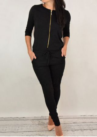 Solid Drawstring Pocket Zipper Jumpsuit