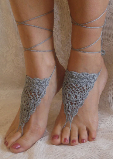 Image of Crochet Lace Up Barefoot Sandals