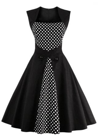 Plus Size Polka Dot Button Casual Dress