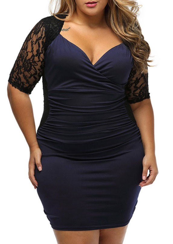 c6d30c4a729 Plus Size Lace Splicing V-Neck Bodycon Dress - Fairyseason