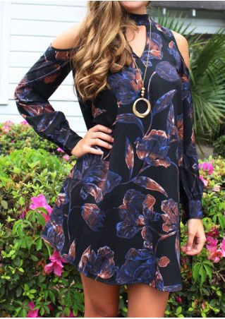 Floral Cold Shoulder Mini Dress without Necklace