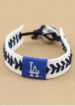 LA PU Elastic Porcelain Bead Baseball Bracelet