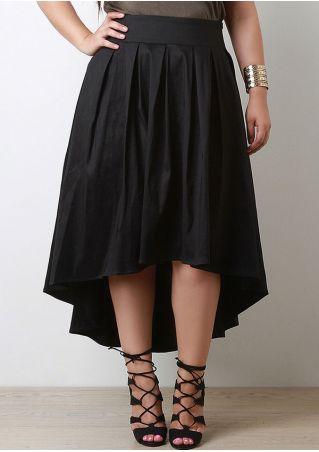 Plus Size Solid Zipper Asymmetric Skirt