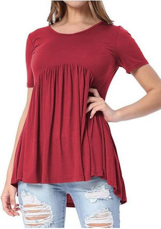 Solid Ruffled O-Neck Short Sleeve Blouse