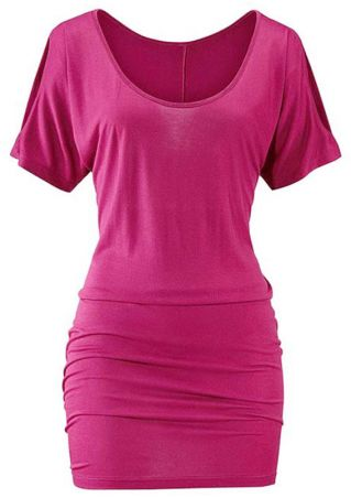 Solid Ruched Cold Shoulder Bodycon Dress
