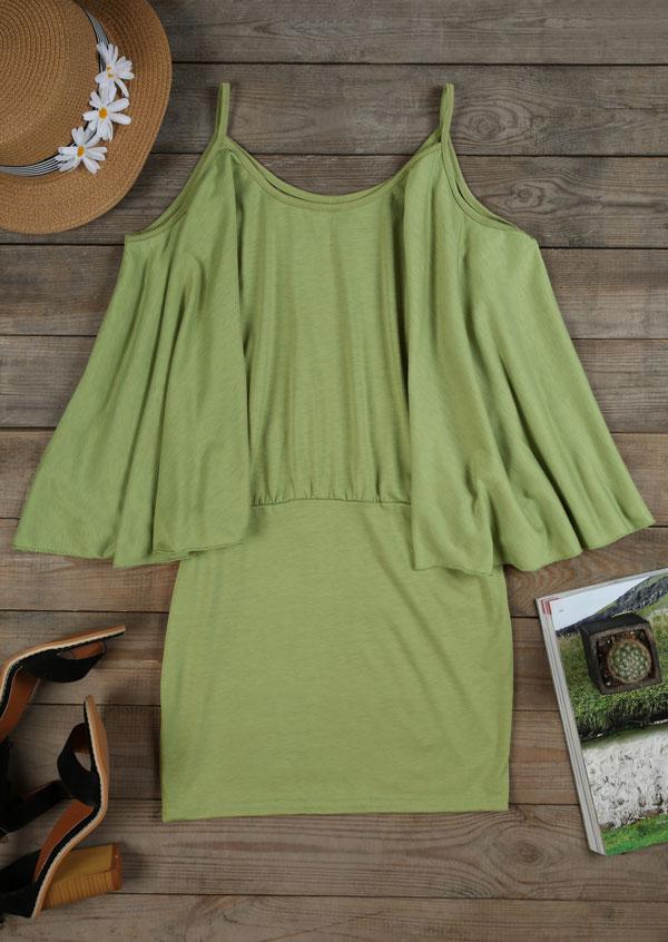 Solid Cold Shoulder Bodycon Dress 34761