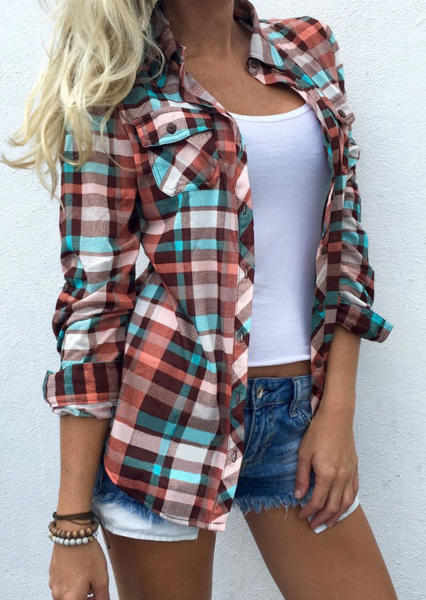 Plaid Pocket Turn-Down Collar Shirt