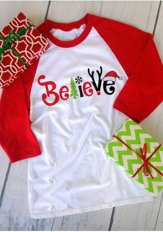 Christmas Believe O-Neck Baseball T-Shirt Christmas