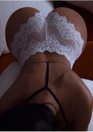 Solid Lace Floral Panties