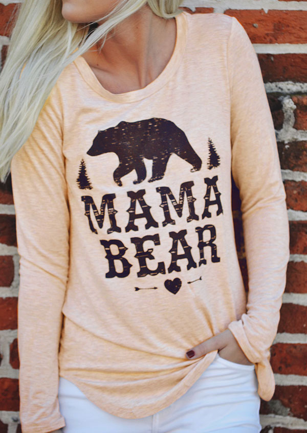 Mama Bear Heart O Neck T Shirt Fairyseason