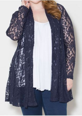Plus Size Solid Lace Floral Cardigan
