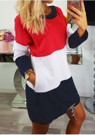 Color Block Long Sleeve Mini Dress