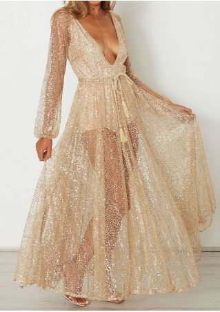 Solid Sequined Maxi Dress without Necklace