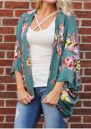 Floral Batwing Sleeve Kimono Cardigan