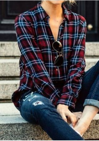 Plaid Turn-Down Collar Long Sleeve Shirt