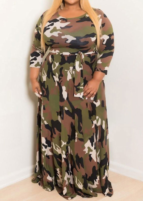 Plus Size Camouflage Printed O-Neck Maxi Dress - Fairyseason