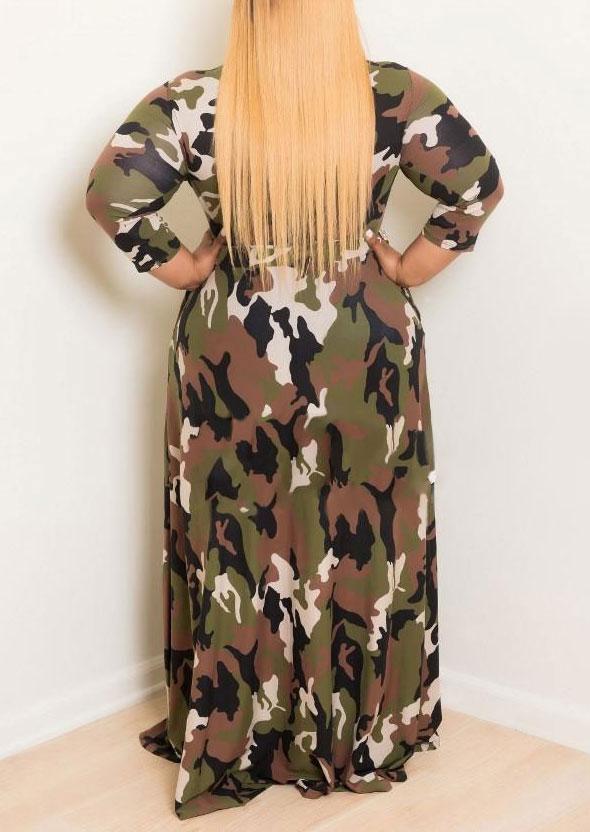 Plus Size Camouflage Printed O Neck Maxi Dress Fairyseason