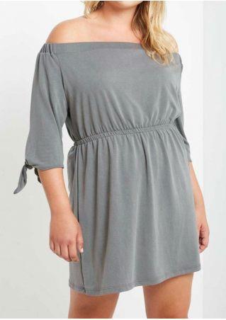 Plus Size Solid Tie Off Shoulder Casual Dress