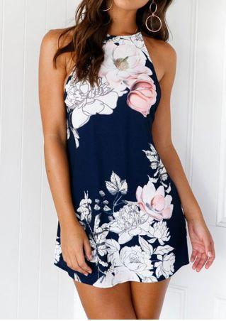 Floral Backless Mini Dress