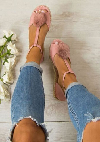 Solid Pompon Buckle Strap Flat Sandals фото