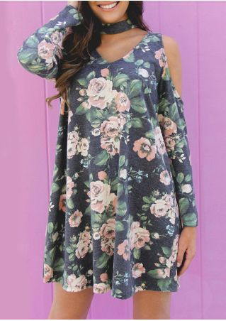 Floral Cold Shoulder Casual Dress with Choker