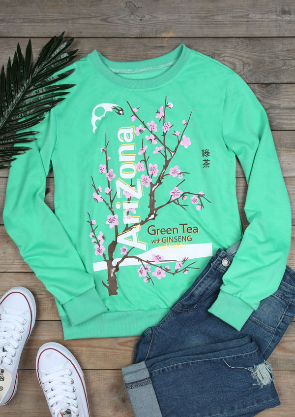 Arizona Green Tea Floral O Neck Sweatshirt Fairyseason