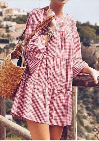 Plaid Flare Sleeve Mini Dress