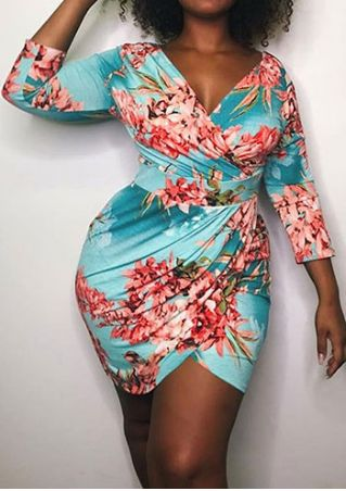 Plus Size Floral Deep V-Neck Bodycon Dress