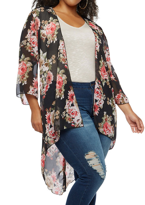 Plus Size Floral Asymmetric Chiffon Cardigan Fairyseason