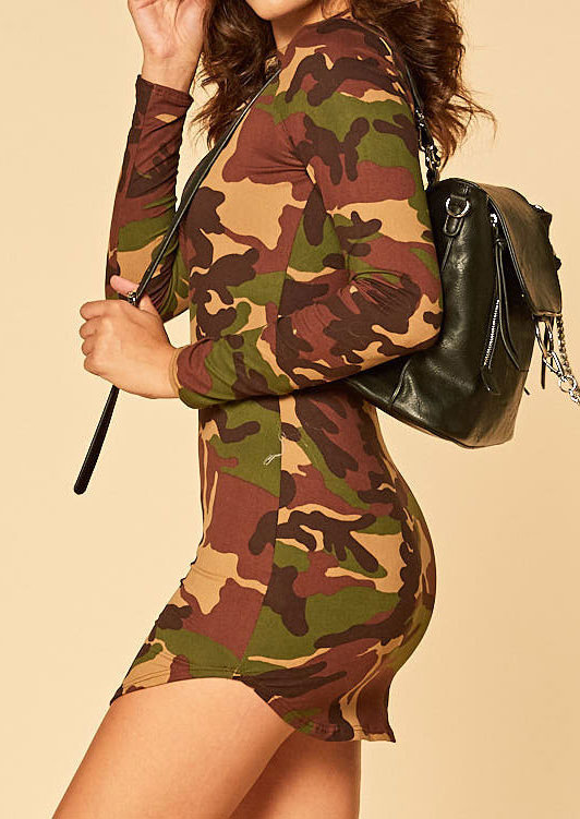 Image of Camouflage Printed Long Sleeve Bodycon Dress