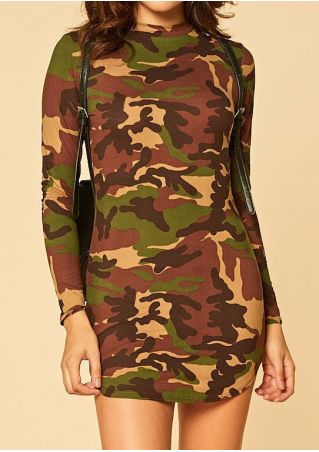 Camouflage Printed Long Sleeve Bodycon Dress Camouflage