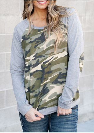 Camouflage Printed Splicing Elbow Patch Baseball T-Shirt Camouflage