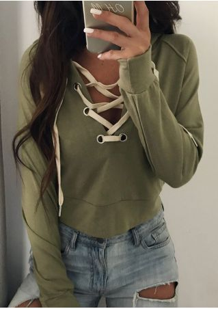 Solid Lace Up Hoodie without Necklace
