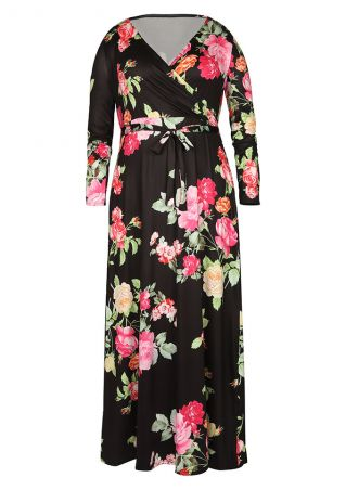 Plus Size Floral Wrap V-Neck Maxi Dress