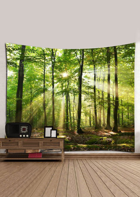 Image of 3D Forest Sunlight Printed Rectangular Tapestry