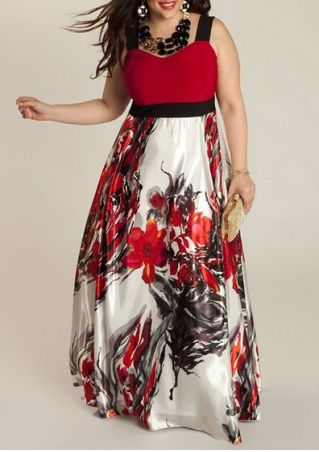 Plus Size Floral Splicing Maxi Dress without Necklace