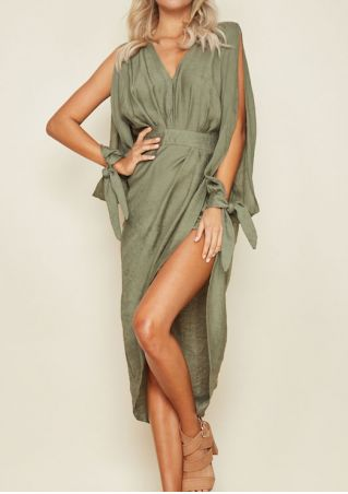 Solid Cold Shoulder Casual Dress