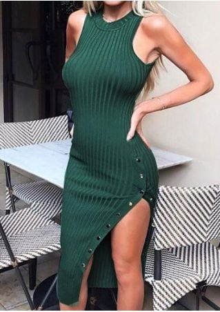 Solid Button Slit Bodycon Dress
