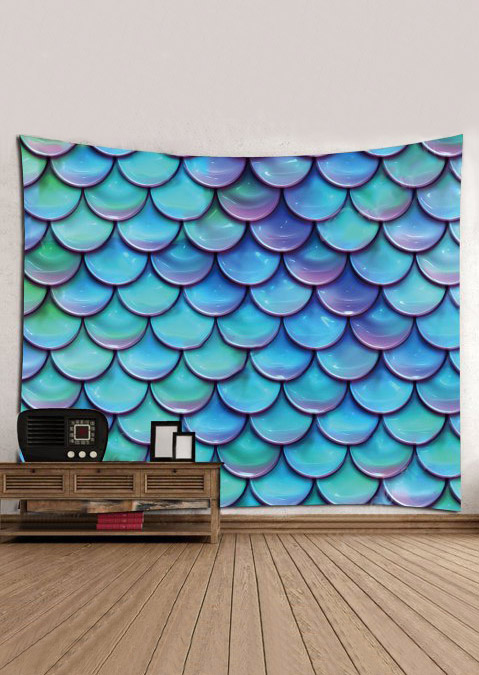 Image of 3D Fish Scales Printed Rectangular Tapestry