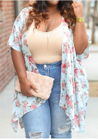 Plus Size Floral Asymmetric Cardigan without Necklace