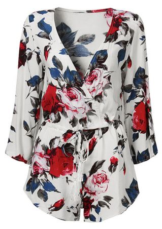 Plus Size Floral Wrap Drawstring V-Neck Romper