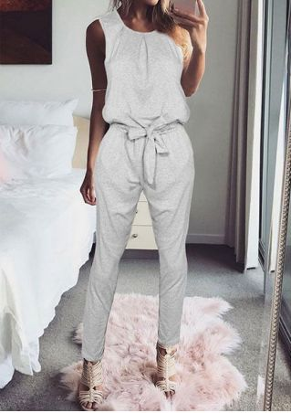 Solid Ruffled Tie Sleeveless Jumpsuit with Belt