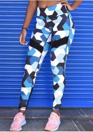 Geometric Printed Elastic Waist Sport Pants