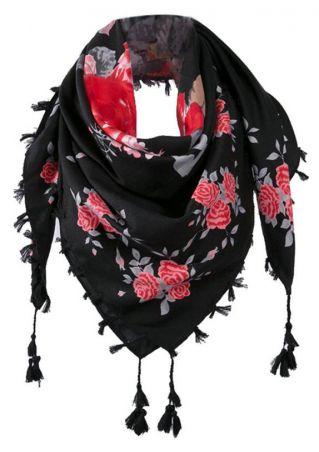 Floral Tassel Soft Scarf
