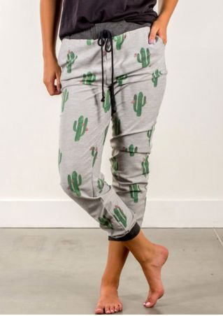 Cactus Drawstring Splicing Pocket Pants Cactus